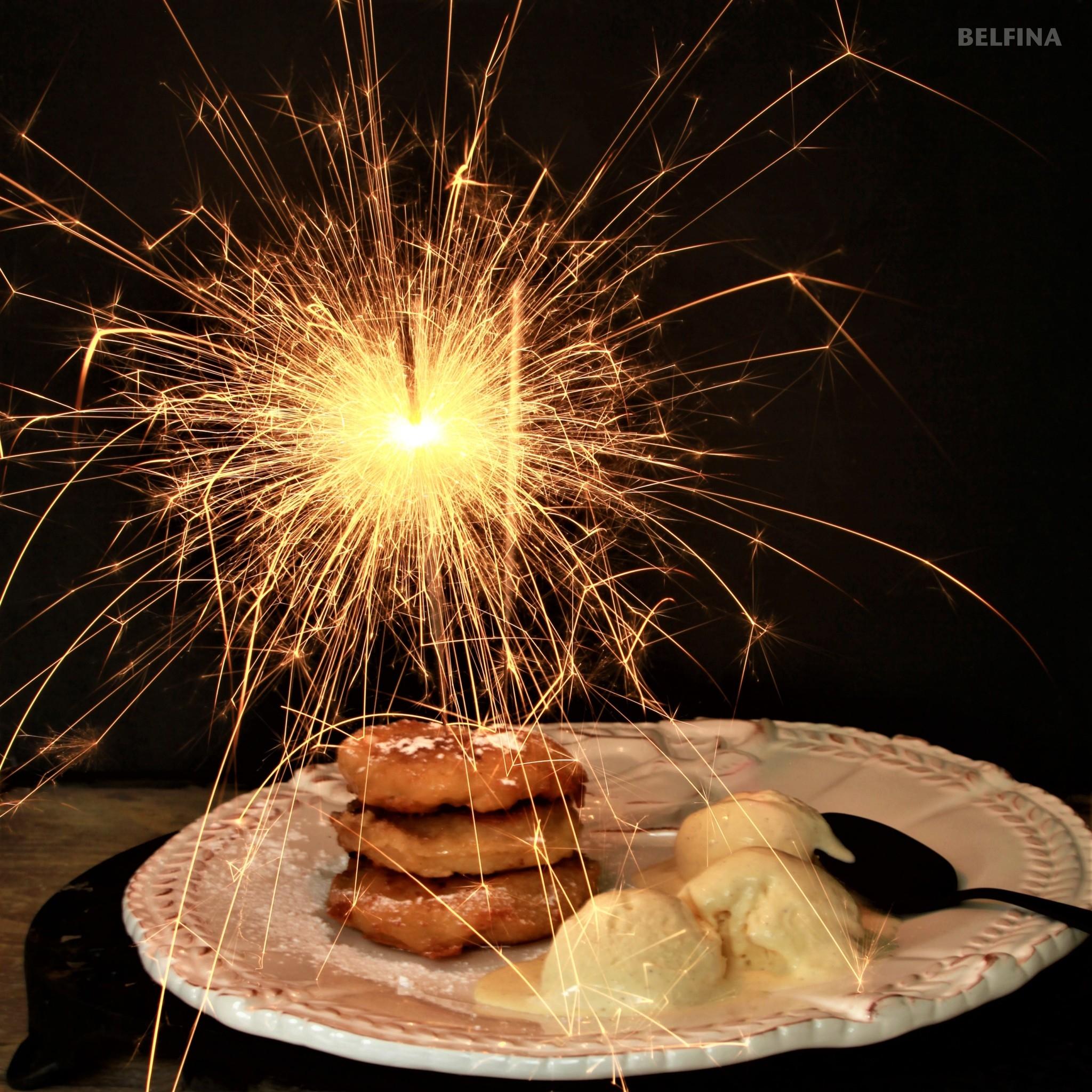 Silvester mit Apfelküchlein in einem Bailey's Teigmantel….